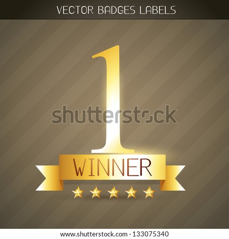 no. 1 winner golden style label design - stock vector