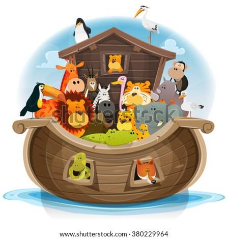 Noah's Ark With Cute Animals/ Illustration of cute cartoon group of wild animals inside noah's ark, with lion, elephant, giraffe, gazelle, monkey, ape, zebra, birds and others on ocean background - stock vector
