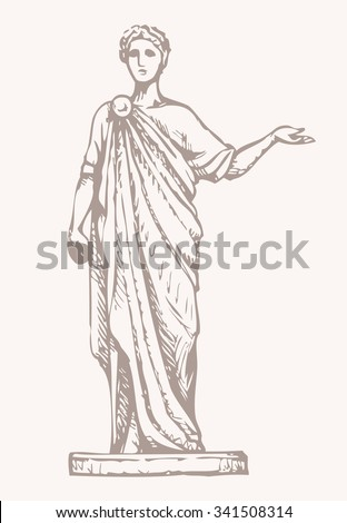 Noble myth aristocrat orator in toga cloak with laurel wreath on head and scroll manuscript in hand isolated on white background. Freehand outline ink drawn picture sketch in empire style pen on paper - stock vector