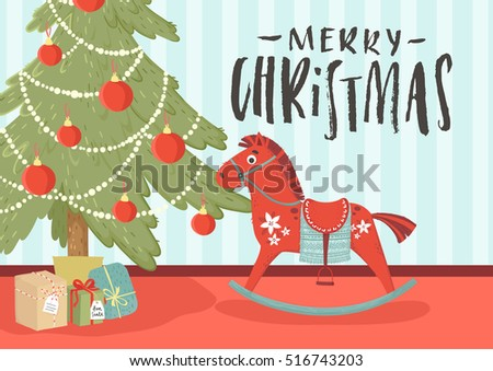 Noel merry christmas happy new year stock vector 516743203 noel merry christmas and happy new year greeting card with cute wooden horse and presents stopboris Gallery