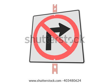 NoLRturns - 3d illustration of roadsign isolated on white background