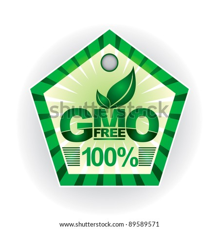 Non genetically modifies plants - green label layout - stock vector