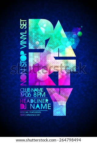 Non stop vinyl party poster - stock vector