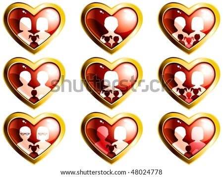 Non-traditional families heart-shaped buttons (Eps10); JPG version also available - stock vector