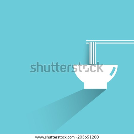 noodle, blue background, flat and shadow theme - stock vector