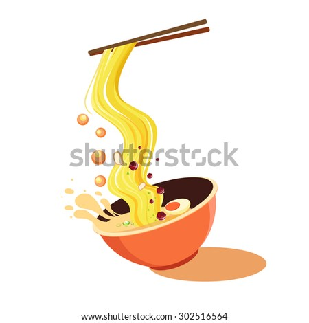 noodle bowl asia food  - stock vector