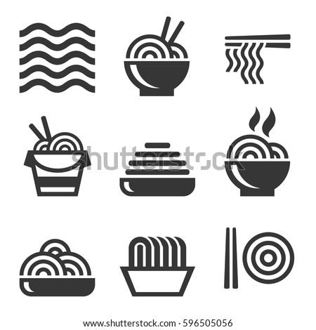 noodle icons asian food bar logos stock vector 596505056