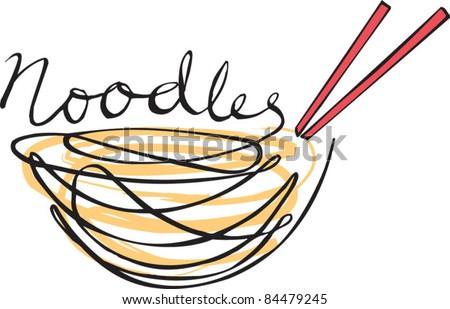 Noodles hand written type - stock vector