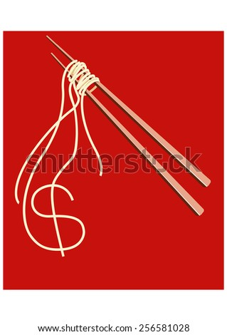 Noodles on chopsticks forming A shape of American Dollar - stock vector