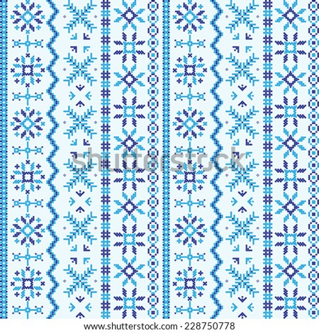 Nordic ornament embroidery seamless texture- pattern - stock vector