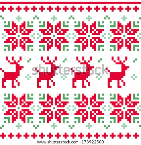Nordic seamless knitted christmas pattern vector ( red and green ) - stock vector