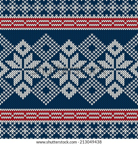Nordic seamless knitted pattern - stock vector
