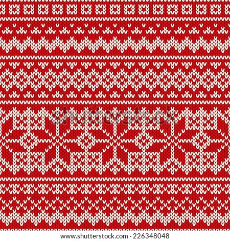 Nordic seamless pattern on the wool knitted texture - stock vector