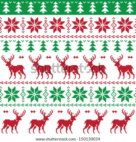 Nordic seamless pattern with deer and christmas tree