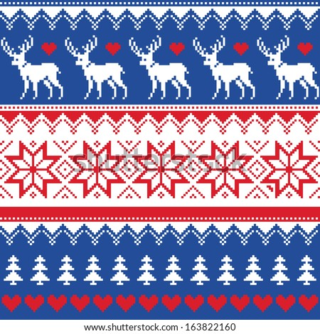 Nordic seamless pattern with deer and christmas trees - stock vector