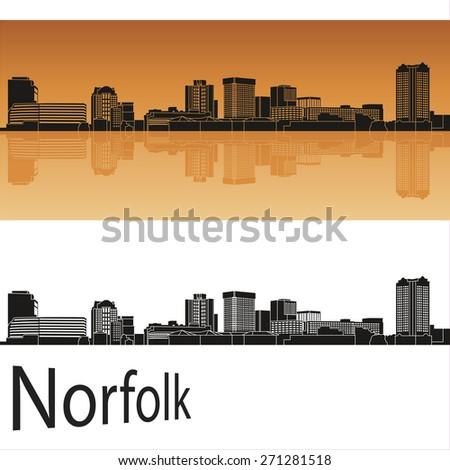 Norfolk skyline in orange background in editable vector file - stock vector