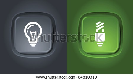 normal and saver lightbulb icons on buttons - stock vector