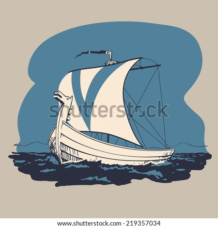 Norman drakkar boat traveling in the sea and searching new lands to conquest vector illustration - stock vector