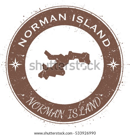 Norman Island circular patriotic badge. Grunge rubber stamp with island flag, map and the Norman Island written along circle border, vector illustration.