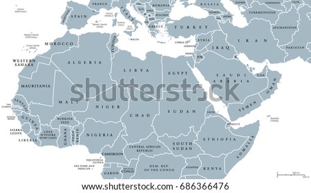 north africa and middle east political map with countries and borders english labeling maghreb