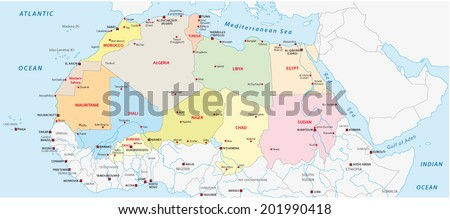 north africa map - stock vector