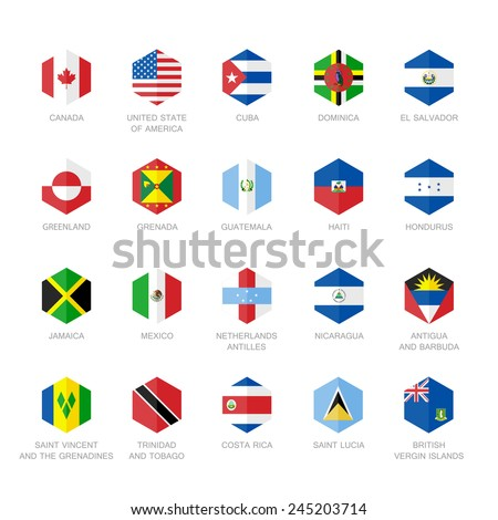 North America and Caribbean Flag Icons. Hexagon Flat Design. - stock vector