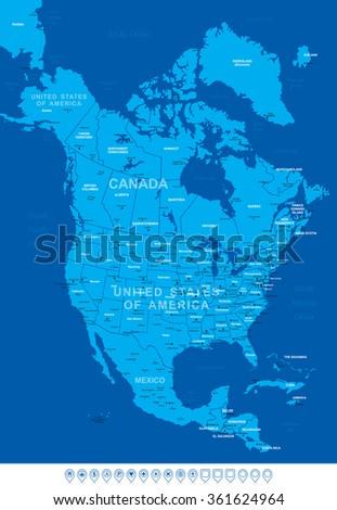 North America Blue Map-Vector Illustration - stock vector