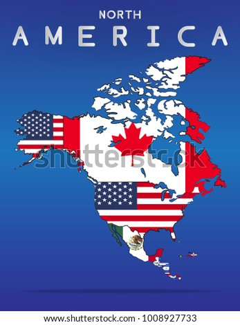 north america continent map flag country stock vector royalty free