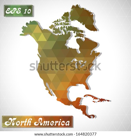 North America . EPS10 file version. This illustration contains transparency and is layered for easy manipulation and custom coloring.