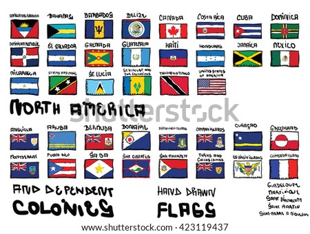 North America hand drawn flags