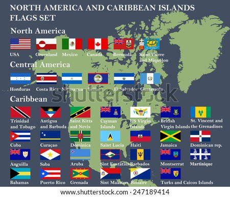 North America highly detailed flags set with countries coat of arms - stock vector