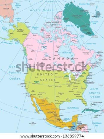 North America -highly detailed map.All elements are separated in editable layers clearly labeled. Vector - stock vector