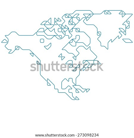 North America map drawn with thin line on a invisible grid of rounded squares and triangles - stock vector