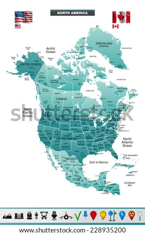 North America Map. Eps10 - stock vector