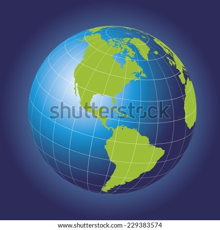 North America map. Europe, Greenland, North Pole, South America. Earth globe. Elements of this image furnished by NASA. Planet Earth as seen from space - stock vector