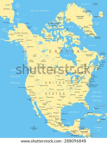 North America map - highly detailed vector illustration - stock vector