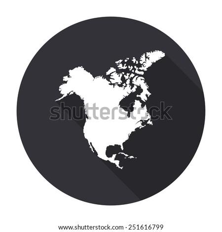 North America Map Icon Long Shadow Stock Vector 251616799