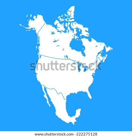 North America map including US, Mexico and Canada  - stock vector
