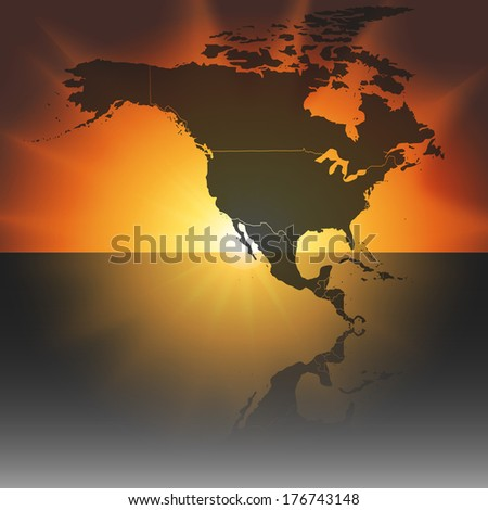 north america map on the sunset background vector - stock vector