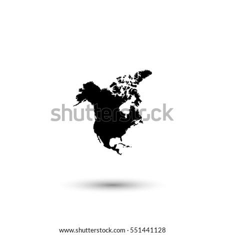 North America Map Vector Icon Round Stock Vector 551441128