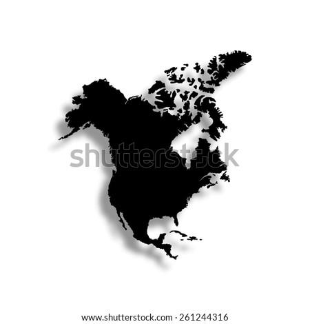 North America Map Vector Icon Shadow Stock Vector 261244316