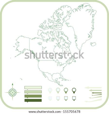 North America Map, Vector illustration.  - stock vector