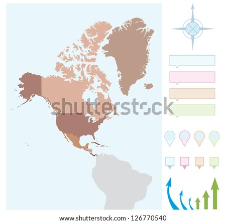 North America map with borders for countries. - stock vector