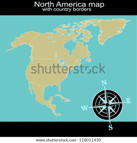 North America map with country borders - stock vector