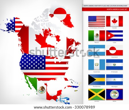 North america map flags location on vector de stock330078989 north america map with flags and location on world map gumiabroncs Image collections