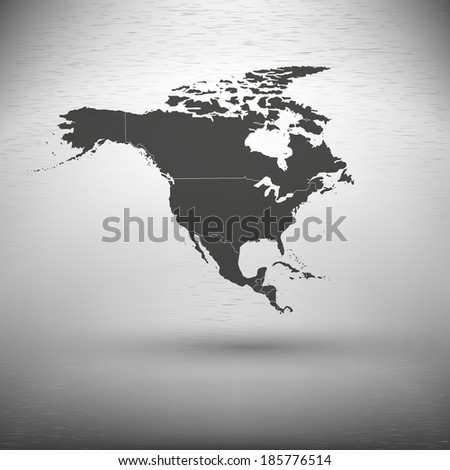 North america map with the shadow on the gray background vector - stock vector
