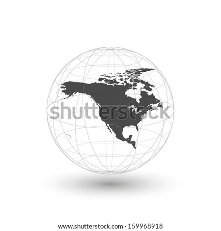 north america map world background vector - stock vector