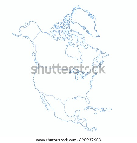 North America Outline Map Graphic Design Stock Vector (Royalty Free ...