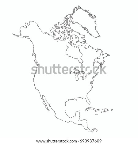 North America Outline Map Graphic Design Stock Vector 690937609 ...