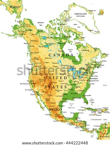 North America-physical map - stock vector